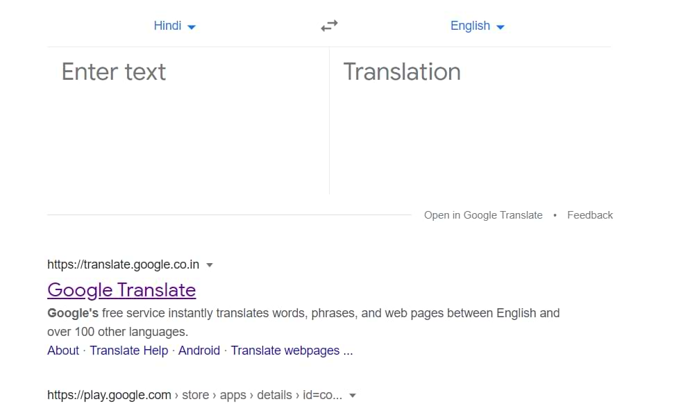 Google translate English To Hindi