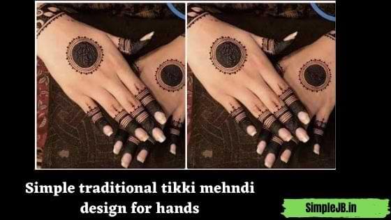 Simple traditional tikki mehndi design for hands